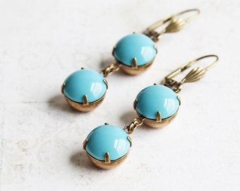 Turquoise Blue Rhinestone Dangle Earrings with Antiqued Brass Hooks, Aqua Blue Earrings