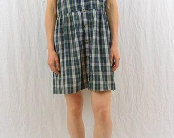Vintage Plaid Dress, Size Large, Collared Dress, Grunge, Sleeveless Dress, Mori Girl, 90's Clothing, Lightweight, Punk, Tartan