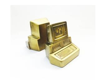 Vintage Brass Computer Bookends