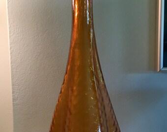 Vintage Amber Mid-Century Italian Art Glass Tall Vase 1960's 70's