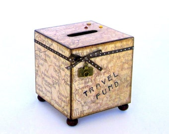 Travel Coin Bank Vintage Style World Map Decoupaged Wood Square Vacation Savings Bank Piggy Bank Beige Sepia