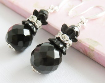 Big black earrings, crystal dangle earrings, black jewelry, large, gift for her, beaded earrings