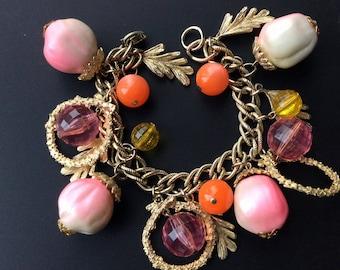 Fun Oversized Vintage Charm Bracelet - Pink, Orange