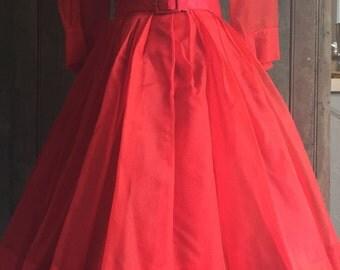 1960s Red Organza Cocktail Dress, Valentine Dress