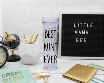 Best Aunt Ever Tumbler 16 oz Cup with Straw and Lid,  Aunt Gift, Awesome Best Aunt in the World, World's Best Aunt Water Bottle, Reveal