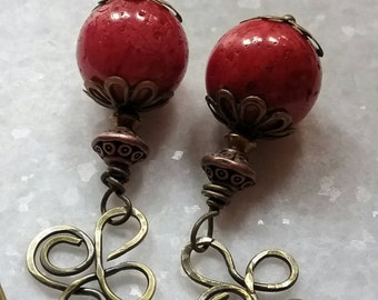 Celtic Coral Earrings // Spring Strawberry Red Coral Earrings // Oxidized Brass Cloverleaf and Coral Earrings // Gift For Mom //Gift For Her