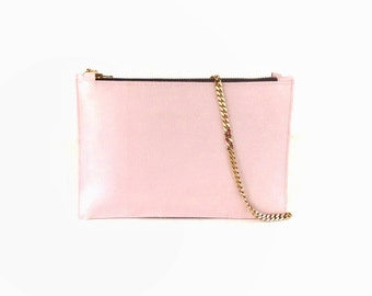 Blush pink clutch bag, small leather crossbody bag, small shoulder bag, chain bag, mini bag, small leather bag, pink leather purse,