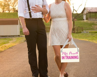 Mrs. Powell In Training Sign {Custom Name} Wedding Engagement Banner | Bride To Be | Proposal Announcement Bridal Shower Mrs. __ 1103 BW