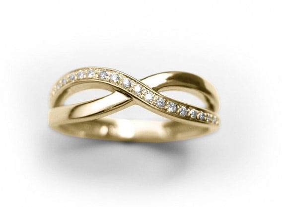 Diamond Knot Ring Infinity Knot Ring Yellow Gold Infinity