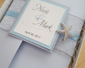 Dazzling Silver and Light Blue Boxed Starfish Bling Destination Beach Wedding Invitation Deposit