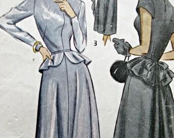 Vintage Simplicity 2590 Sewing Pattern, 1940s Dress Pattern, Bust 32, Peplum Dress, Full Skirt Dress, 1940s Sewing Pattern, Forties Dress