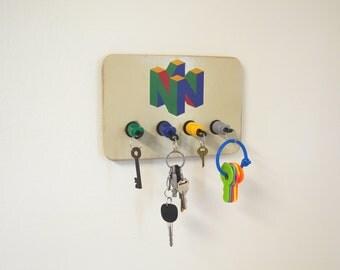 Nintendo 64 Plug Key Chain Holder Organizer - Real controller Plugs