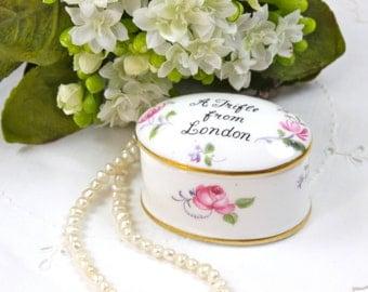 "Vintage Porcelain Box - London Souvenir,  Keepsake Box, Ring Holder Box, Trinket Box, 'A Trifle from London"", Crown Staffordshire, c.1930s"