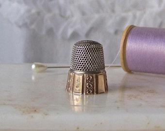 Vintage Sterling Silver Thimble 10K Gold Plate Panel Size 9 Quilting Sewing Thimble Collector H. Muhrs Sons ca 1873-1903