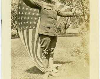 "Antique Photograph ""The Proud Soldier Returns"" Americana WWI Military American US Flag Patriotic Man Guy Black & White Vintage Photo - 24"