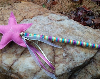 Light Pink Magic Star Fairy Princess Wand READY TO SHIP