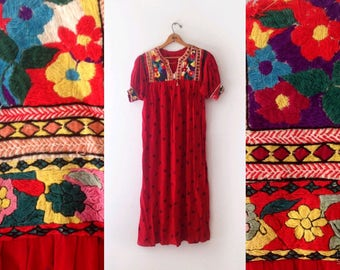 1960s red floral folk hand embroidered bohemian dress size medium