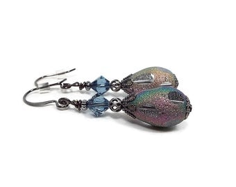 Blue Multi Color Crystal Teardrop Earrings Dangle Drop Retro Style Frosted AB Gunmetal Plated