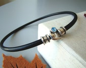 Modern Choker -  genuine  5mm round leather collar with silver tone hook clasp and blue Swarovsky crystal