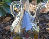 Vtg Italian Glass Cruet Oil Vinegar Dispenser Fruit Motif