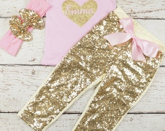 toddler Valentines Day Outfit, Baby Girl Valentines Outfit, Newborn Valentines Outfit, Baby's Valentines, toddler birthday pink and gold
