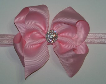 """Pink Hair Bow / 5"""" BIG Bow / Rhinestone Cluster / Flower Girl / Photo Prop / Pageant / Infant / Baby / Girl / Toddler / Custom Boutique"""