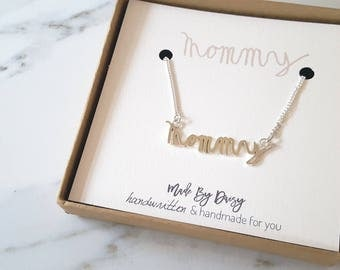 Mommy Necklace- My Childs Handwriting- Gift For Mom- Gift Idea For Mum- Gift for wife- Bereavement Jewelry- Child Loss- Grandmother Gift