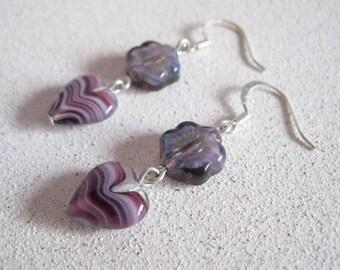 Purple Dangle earrings Heart shaped glass swirl pattern spring summer flower tween jewelry french earwire gifts for women under 20 dollars