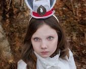 White Rabbit Hat- Rabbit Ears- Alice In Wonderland- White Rabbit Costume- Mad Hatter- Tea Party Hat- Rabbit Costume- Steampunk Hat