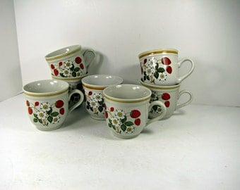 Vintage STRAWBERRiES n CREAM COFFEE CUP Set/7 Sheffield Strawberry Red Berry Mug