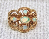 Sale, Vintage Opal Filigree Wide Band Ring in 14K Yellow Gold, October Birthday, Wedding, Anniversary