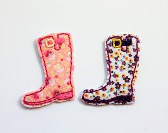 Rain boot feltie, rain boot felt stitchies, floral rain boot feltie, 4 pcs for hair accessories, scrapbooking, or crafts, wholesale felties