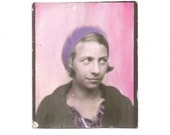 Vintage Snapshot Girl Beret Blonde Hair Photobooth Hand Tinted Photo Found Vernacular Photo