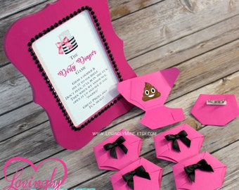 Dirty Diaper Game Hot Pink & Black Diaper Pins and matching 4 x 6 Frame - Black and White Stripes Baby Shower Games