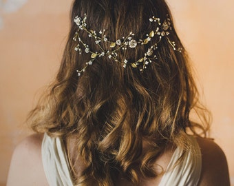 Bridal wire wrapped hair vine, flower pearl headpiece, white beaded headband, floral head wrap, garden outdoor wedding - style 248