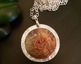Rosette Charm Copper Necklace