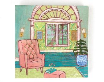 Original abstract interior still life painting  - Dream Room 6