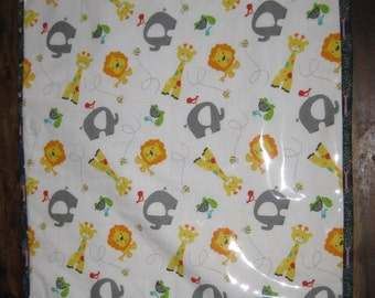 Lion's, giraffe's, elephant's and turtle's with white polka dots baby change mat
