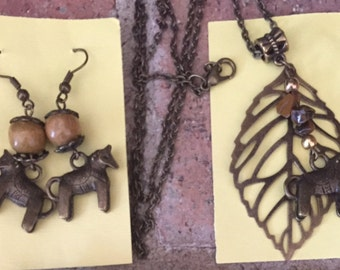 Swedish Bronze Dala Horse Earrings and Necklace