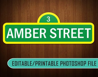 Digital Sesame Street Sign (Editable) - Photoshop Compatible (KDEDF0001)
