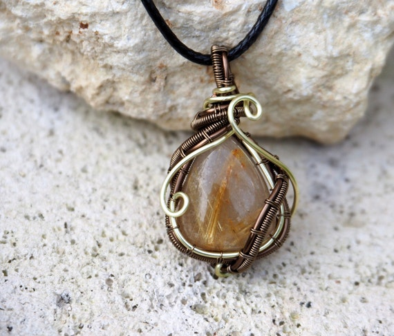 Golden Rutilated Quartz pendant Gemstone wire wrapped necklace Anniversary gift for her girlfriend Christmas gift Handmade jewelry