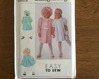 Girls Dress, Lined Coat and Hat, Easter Dress and Coat, Short or Long Sleeves, Easy to Sew, Simplicity 9533