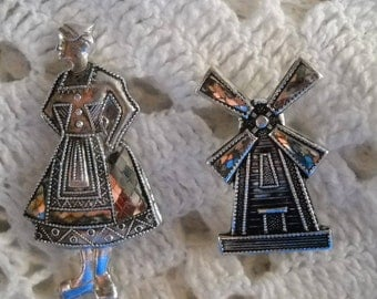 Vintage Dutch Pins, Dutch Girl Brooch, Windmill Brooch, Marcasite Brooches, Figural Pins, Scatter Pins made in Japan