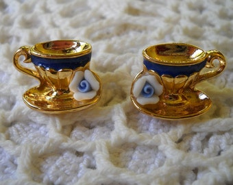 Vintage Tea Cup Earrings, Whimsical Avon Jewelry, Cup and Flower Pierced Earrings, Tea Party , Gold and Ceramic Earrings, Costume Jewelry