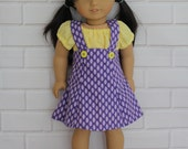 "Yellow Peasant Top Purple Lilac Pinafore Skirt Dolls Clothes to fit 20"" Australian Girl dolls & 18"" American Girl type dolls"