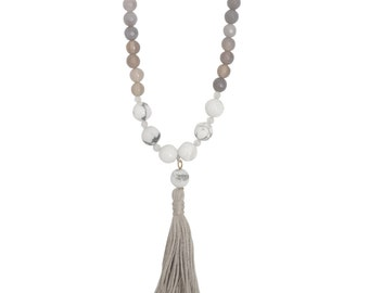 Sale - Clarity Necklace - Tassel Necklace - Beaded Necklace - White Necklace - Gray Necklace - Yoga Jewelry - Agate Necklace