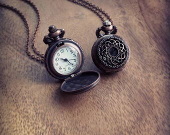 Pocket Watch, Time piece, Antique Copper Rose/ Filigree Engravings Pocket Watch Necklace