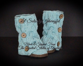 Crochet Baby Shoes, Knit Baby Shoes, Baby Shower Gift, Knit Baby Boots, Green Baby Shoes, Baby Girl Shoes, Baby Girl Booties, Green/Brown
