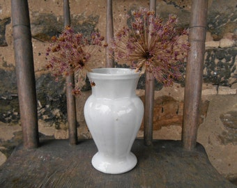 Antique English Ironstone Toothbrush Holder Early Iron Stone China Made in England Rustic Farmhouse Minimalist Small Vase