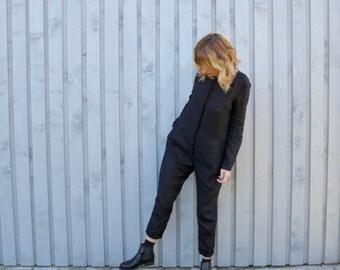 Linen Jumpsuit - Black Jumpsuit - Washed Linen Jumpsuit - Long Sleeve Jumpsuit - Linen Overall - Women Jumpsuit - Handmade by OFFON